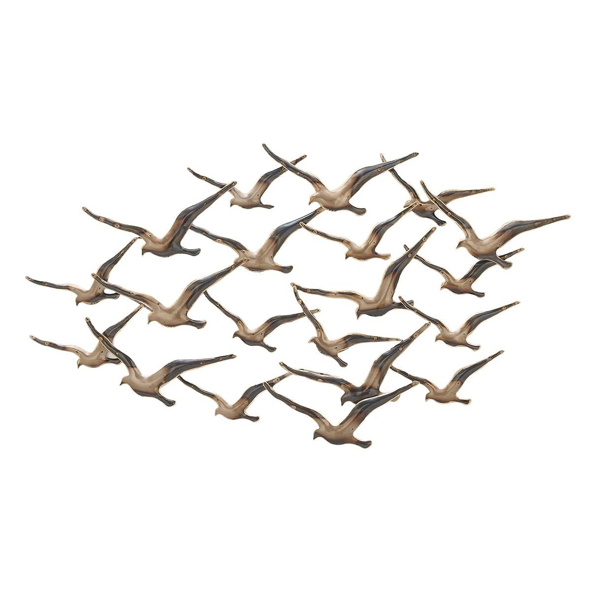 "Urban Designs 7735459 Flying Flocking Birds 45"" Wide Metal Wall Art Bronze"