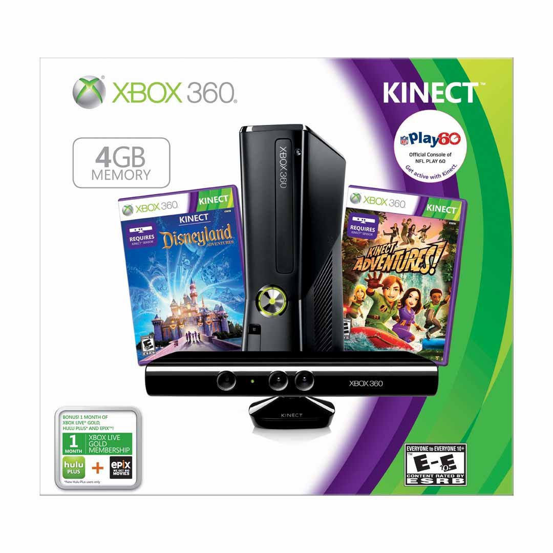 new xbox 360 s kinect console 4gb holiday bundle w. Black Bedroom Furniture Sets. Home Design Ideas