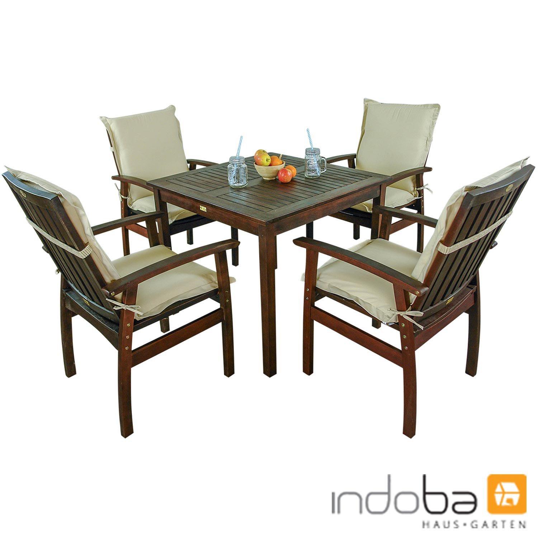 indoba® IND-70080-PRSE5Q + IND-70451-AUNL - Serie Provence - Gartenmöbel Set 9-teilig aus Holz FSC zertifiziert - 4 Gartenstühle + quadratischer Gartentisch + 4 Premium Sitzauflagen beige