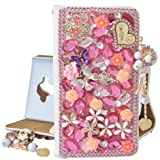 Spritech Samsung Galaxy S8 Case, PU Leather Wallet Phone Case 3D Handmade Bling Design Flower Butterfly Decorated Folding Protected Smartphone Cover with Card Slots for (2017) Samsung Galaxy S8 (Color: T15)