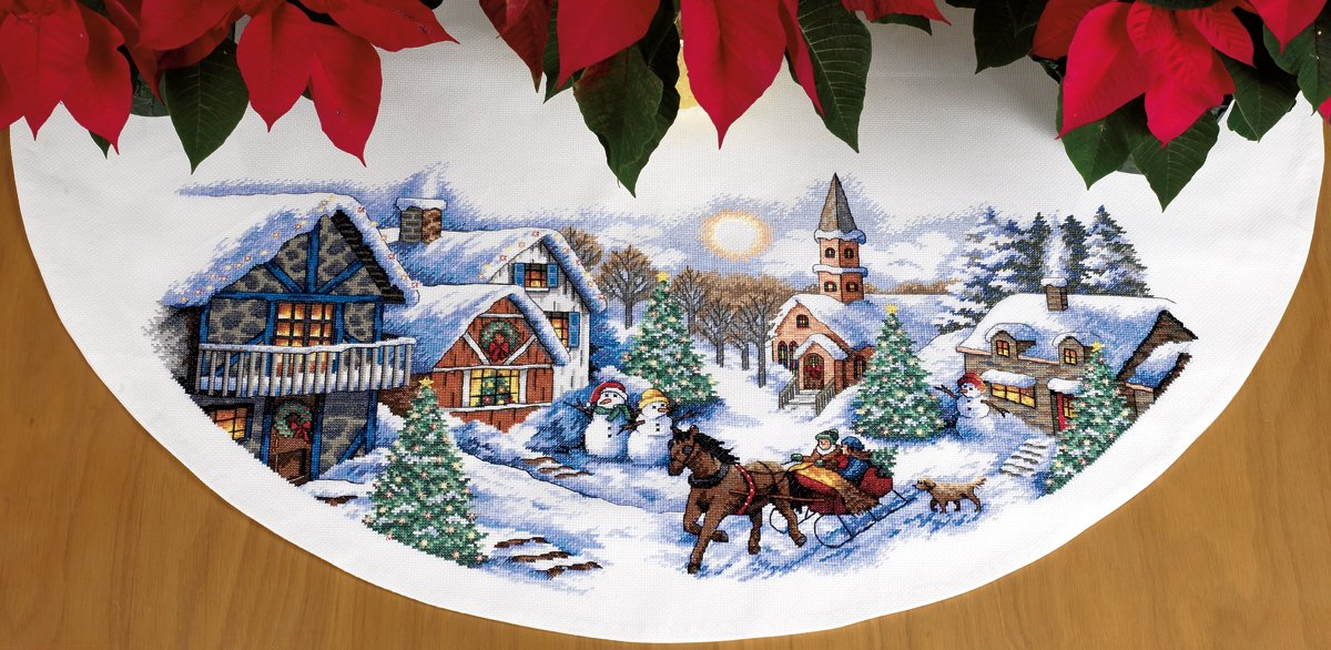 Counted Cross Stitch, Sleigh Ride Tree Skirt