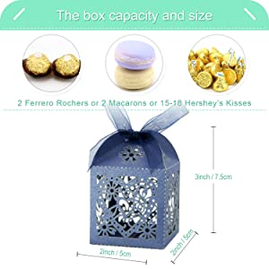 COTOPHER 60 Pack Love Heart Laser Cut Candy Boxes Wedding Party Favor Boxes Small Gift Boxes for Wedding Bridal Shower Baby Shower Birthday Party (60, Navy) (Color: Navy)