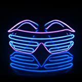 Led Light Up Neon Shutter Party Glasses for Parties Decorations(Purple+Blue) (Color: Purple+blue, Tamaño: Two color)