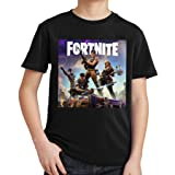 fresh tees Fortnite Heroes Fortnite Gamers Youth T- Shirt (Large 10/12 yrs, Black) (Color: Black, Tamaño: Large10/12 Yrs)