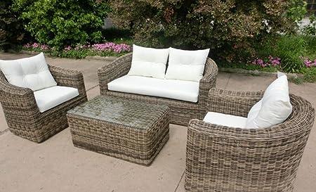 4 tlg Garnitur Polyrattan Cremona grau/braun meliert Gartenmöbel Gartengarnitur Sofa
