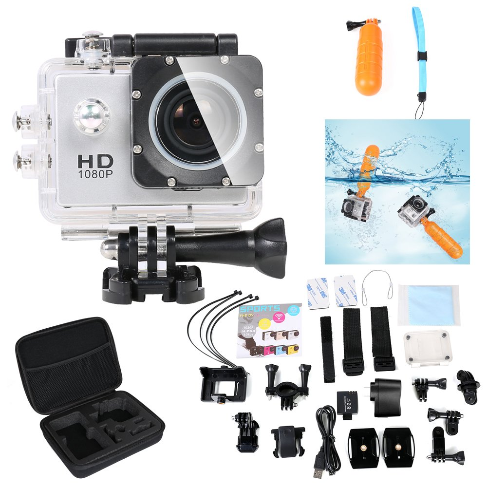 Flylinktech® 2.0 Inch WiFi Sports Camera HD 1080P 12MP Outdoor Sports DV 30M Waterproof Action Camera+2 Batteries+Shockproof Carrying Bag+Floating Handle Grip Pole+Free Accessories Kit(Silver)