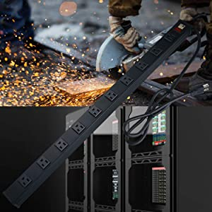 10 Outlets Heavy Duty Metal Power Strip,Aluminum Workshop Power Strip Socket with 3.28 ft Power Cord and Power Switch.15A,125V,1875W (Black) (Color: Black, Tamaño: 10 Outlets-black)