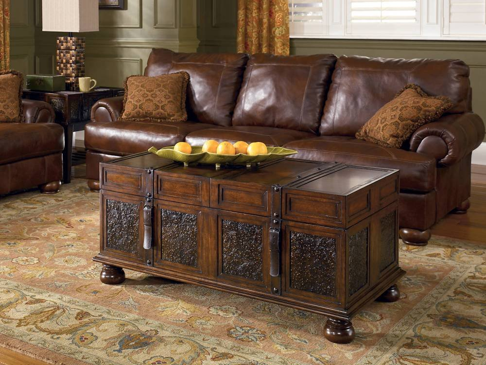 Signature Design by Ashley McKenna Cocktail Table with Storage, Dark Brown 1