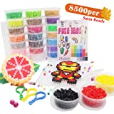 H&W 8500 pcs, 24 Colors 5mm Fuse Bead Kits for Kids, Add Color Number & Supply Refill Bag, 2 Tweezers, 2 Big Square Peg Boards, 5 Ironing Paper, Parts(WA11-Z1) (Color: 24 Colors, Tamaño: 5mm)