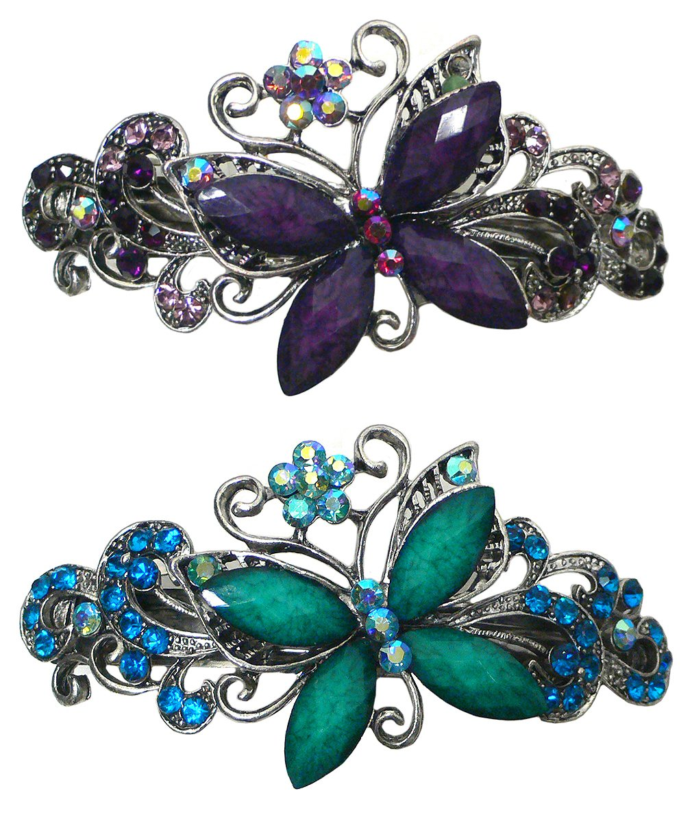 Set of 2 Butterfly Barrettes decorated with Colorful Beads and Rhinestones U86800-0053-2 fundamentals of physics extended 9th edition international student version with wileyplus set