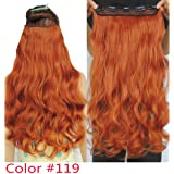 24inch Wavy Curly Synthetic Clip in Hair Extensions Secret Yellow Red Hairpieces (Color: #119)