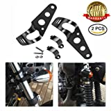 Motorcycle Headlight Side Mounting Brackets - 1 Pair Universal Motor 28-43mm Fork Tube Ears Chopper Cafe Racer Bracket (Black Buy 1 Get 1)