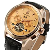 Forsining Men's Automatic Tourbillon Day Calendar Leather Strap Military Collection Watch FSG16577M3R2
