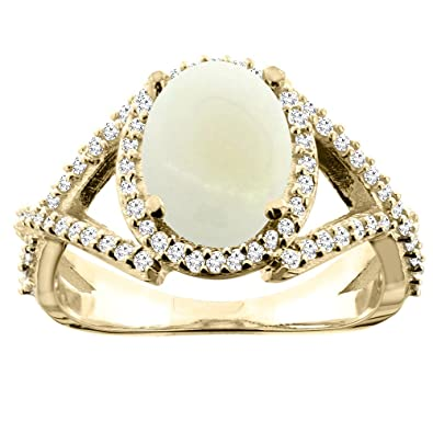 14ct Yellow Gold Natural Opal Ring Oval 10x8mm Diamond Accent 1/2 inch wide, sizes J - T