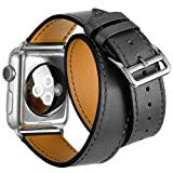 Valkit Bands Genuine Leather Strap iPhone Smart Watch Band Bracelet Replacement Wristband with Stainless Steel Adapter Clasp for Apple Watch 2 1, Double Tour - Gray - 38 mm