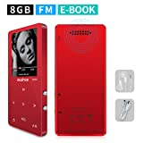 MYMAHDI MP3/MP4 Music Player,8GB(Expandable Up to 128GB)Portable Audio Player with Photo Viewer, Voice Recorder, FM Radio, A-B Playback, E-book,Build-in Speaker with Headphone,Red