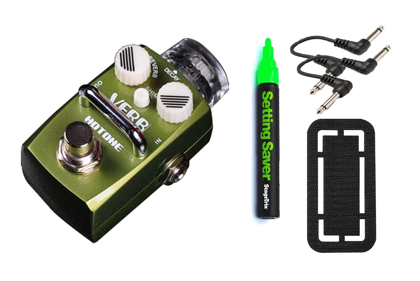 Hotone Skyline Series Stompbox VERB Digital Reverb Pedal Bundle w/ 4 free Items: StageTrix Setting Saver Pen, StageTrix Pedal Fastener, 2x Hosa Patch Cables german verb berlitz handbook