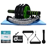 Odoland 3-In-1 AB Wheel Roller Kit AB Roller Pro with Resistant Band,Knee Pad,Anti-Slip Handles and Storage Bag - Perfect Abdominal Core Carver Fitness Workout for Abs (Color: Green and Black)
