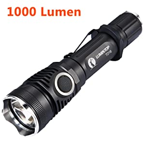 LUMINTOP TD16 High Power 1000 Lumens LED Tactical Flashlight With Strobe, Waterproof, Cree XM-L2 U2, 6 Modes, Use 18650 Battery, Brightest 1 Inch Strong Police Torch Light With Holster and Clip
