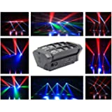 Rainiers Moving Head Light, Mini Spider 8x3W with RGBW 4 Color LED Light Disco Lamp DMX512 10/14CH Portable Stage Light for Indoor Disco, KTV, Club, Party . (Tamaño: spider)