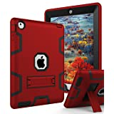 TIANLI iPad 2 Case,iPad 3 Case,iPad 4 Case Three Layer Protection Shockproof Protective with Kickstand iPad 2nd Generation Case/iPad 3rd Generation Case/iPad 4th Generation Case - Red Black (Color: Red)