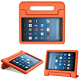 MoKo Case for All-New Fire HD 8 2017 / Fire HD 8 2016 - Kids Shock Proof Convertible Handle Light Weight Super Protective Stand Cover for Amazon Fire HD 8 (7th Gen, 2017 / 6th Gen, 2016), ORANGE (Color: Orange)
