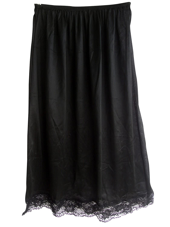 Frauen Halb Slips Unterröcke Schwarz SANBK Women's Black Half Slips Nylon Petticoats günstig online kaufen