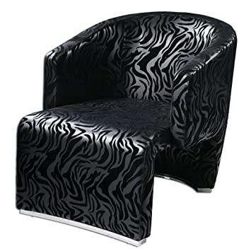 Modern Black Zebra Print Wrap Around Armchair