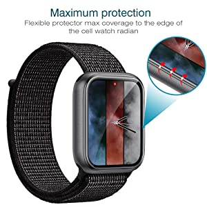 LK [6 Pack] Screen Protector for Apple Watch 44mm Series 4 - Max Coverage Bubble-Free Anti-Scratch iWatch 44mm Flexible TPU Film with Lifetime Replacement Warranty