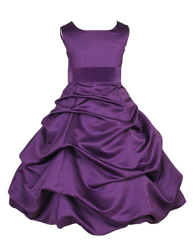Wedding Pageant Purple Flower Girl Dress 806s1