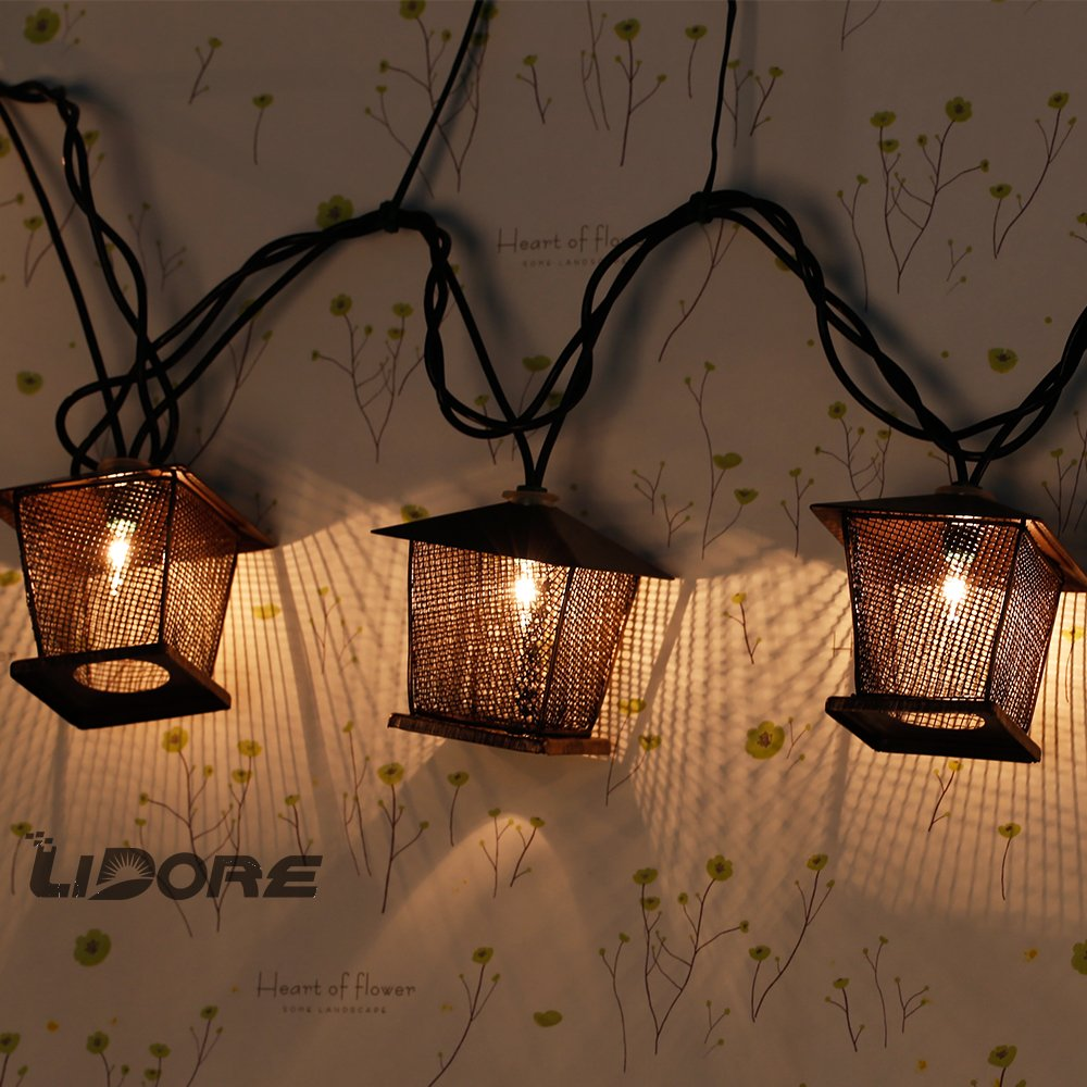 Lidore 10 Counts Vintage Bronze Iron Nets Lanterns Plug In