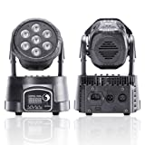U`King Moving Head Light 7LEDx10W 4 Color RGBW with 5 Control Mode for Party DJ Disco Beam Lighting (Color: Black, Tamaño: Mini)