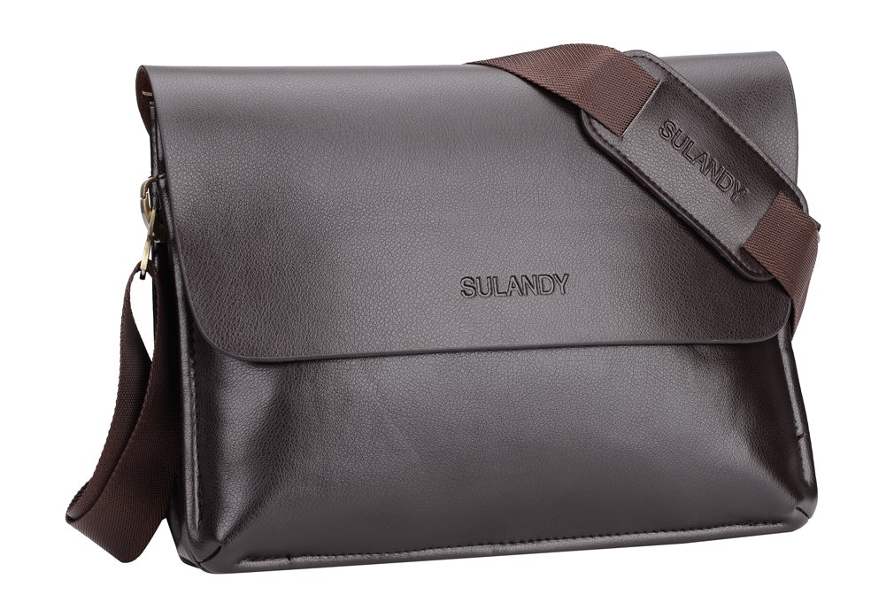 sulandy@ Men's Leather and Faux leather Handbag Messenger Shoulder Briefcase BAG coffee NEW