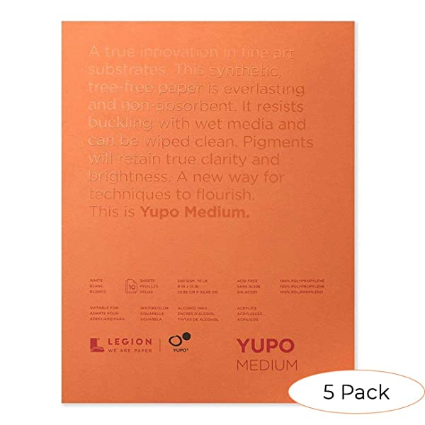 Yupo Paper L21-YUP197W912 White Sheets, 9 x 12, 10 Count (Pack 5) (Color: Pack 5, Tamaño: 9-x-12-Inch)