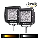 Dual-Color LED Work Light Rigidhorse 4 Row 4 Inch 38W Dual-Color LED Spot Lights/Off Road Light /Driving Lights/LED Work Light, For Jeep/SUV/Trucks With Slidable Mounting Bracket, 2 pack