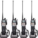 BaoFeng UV-5R Upgrade Version UV-5XP Extended Battery VHF UHF Two Way Radio 7.4v 8W Dual-band Walkie Talkie 4 Pack