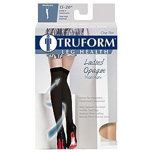 Truform 15-20 mmHg Thigh High Closed Toe Opaque Microfiber Compression Stockings, Beige, Medium (Color: Beige (Closed Toe), Tamaño: Medium (15-20 mmHg))