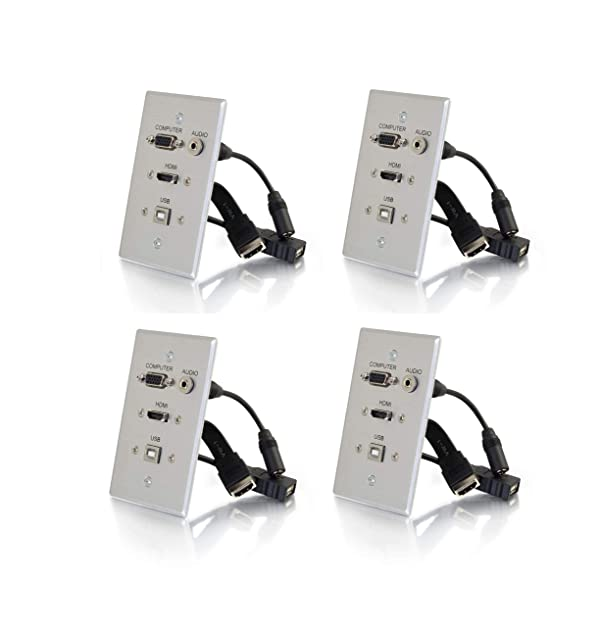 C2G 39706 HDMI, VGA, 3.5MM Audio and USB Pass Through Single Gang Wall Plate (Aluminum, (4-Pack)) (Color: Aluminum, (4-pack))