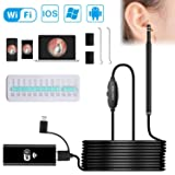 Wireless Otoscope, VSATEN Wifi Otoscope 3 IN 1 1.3 MP Digital Ear Inspection Camera Earwax Cleaning Tool with 6 Adjustable LEDs for iPhone & iPad, Android Devices, Windows & MAC PC Computer