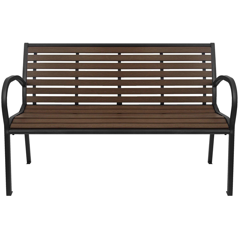 Wohaga® Gartenbank Parkbank Sitzbank Polywood Gartenmöbel Schwarz / Braun jetzt bestellen