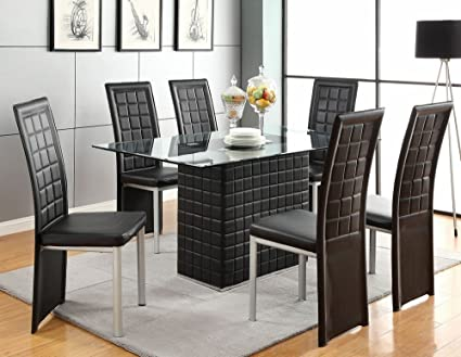 7 pc Abbie collection black leather like vinyl pedestal base and glass top dining table set with black vinyl chairs