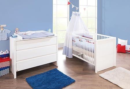 Pinolino Sparset Aura breit, 2-teilig, Kinderbett (140 x 70 cm) und breite Wickelkommode mit Wickelansatz, Fichte massiv, weiß lasiert (Art.-Nr. 09 16 36 B)