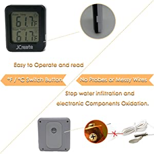 Capetsma Mini 2in1 Digital Thermometer, Aquarium Thermometer and Indoor Thermometer with Accurate Digital Display, Used to Monitor Air Temperature in Car, Baby Room, Greenhouse and Fish Tank (Black) (Color: Black)