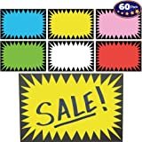 Retail Genius Price Burst 60 Sign Pack. Boost Sales with Bright Display Tags. Durable, Easy to Write On Star Cards Are Great for Yard, Estate & Garage Sale, Fundraiser, Store, Business & Flea Market. (Color: red blue yellow pink green white)