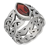 Borre Knot Deep Red Garnet Ellipse Viking Braided Wedding Band Norse Celtic Sterling Silver Ring Size 7(Sizes 4,5,6,7,8,9,10,11,12,13,14,15)