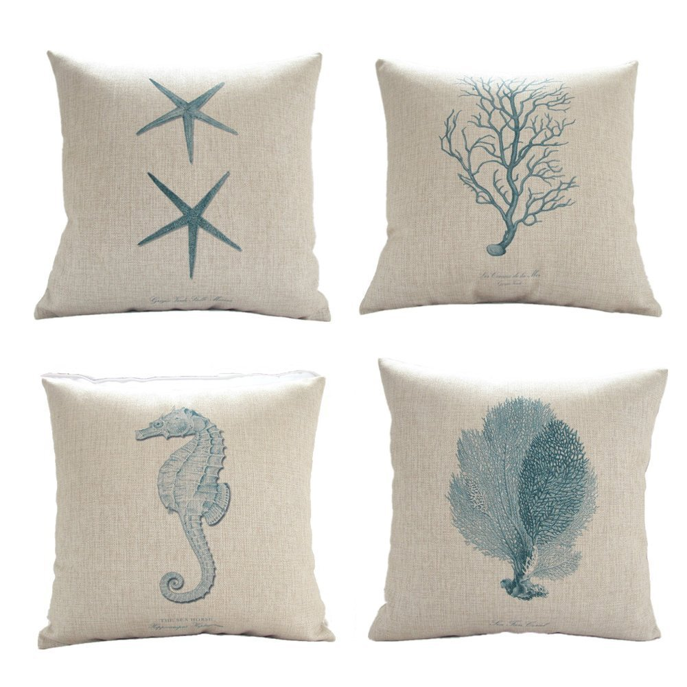Set of 4 sea life theme cotton decorative pillow cover for Decor pillows