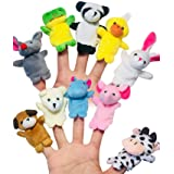ENTOY Small Finger Puppets for Toddlers 10 Sets Cute Plush Animal Finger Puppets for Children Kids