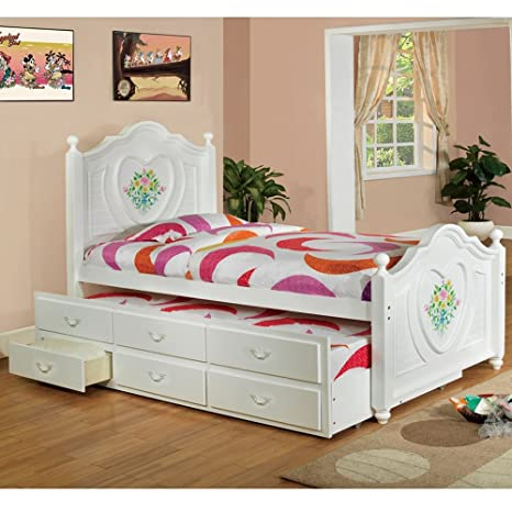 Isabella Captain Bed Built-in twin trundle underbed drawers Solid wood