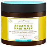 Calily Life Organic Moroccan Argan Oil Hair Mask with Dead Sea Minerals, 17 Oz. - Deep Conditioner and Nourishing - Promotes Healing & Hair Growth -Detoxifies, Strengthens, Shines & Softens [ENHANCED] (Color: White, Tamaño: Bathroom scale)