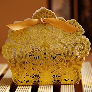 50pcs Wedding Party Favor Boxes,Luxury Lace Candy Chocolate Boxes Bags, Laser Cut Boxes,Gift Boxes With Ribbons Wedding Supplies For Wedding Bridal Shower Baby Shower Birthday Party Anniverary Gold (Color: Gold)